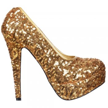 Shoekandi Gold Sparkly Sequin High Heel Platform Stiletto Shoes - Gold