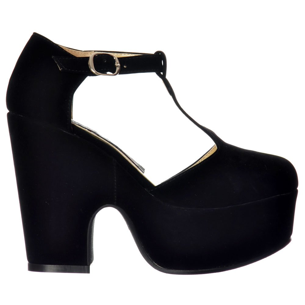 Shoekandi Gracey T Bar Round Toe - Demi Wedge Suede Chunky Heels ...