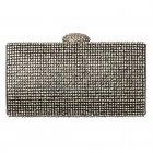 Hard Case Evening Clutch Handbag Purse - Diamante Rhinestone - Gold Diamante, Silver Diamante, Black Diamante