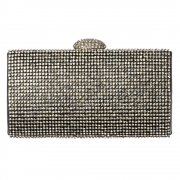Hard Case Evening Clutch Handbag Purse - Diamante Rhinestone - Gold Diamante, Silver Diamante, Black Diamante