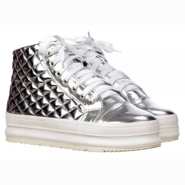 Womens HiTops Trainers Flat Platform Lace Ups Quilted Metallic Silver Gold White