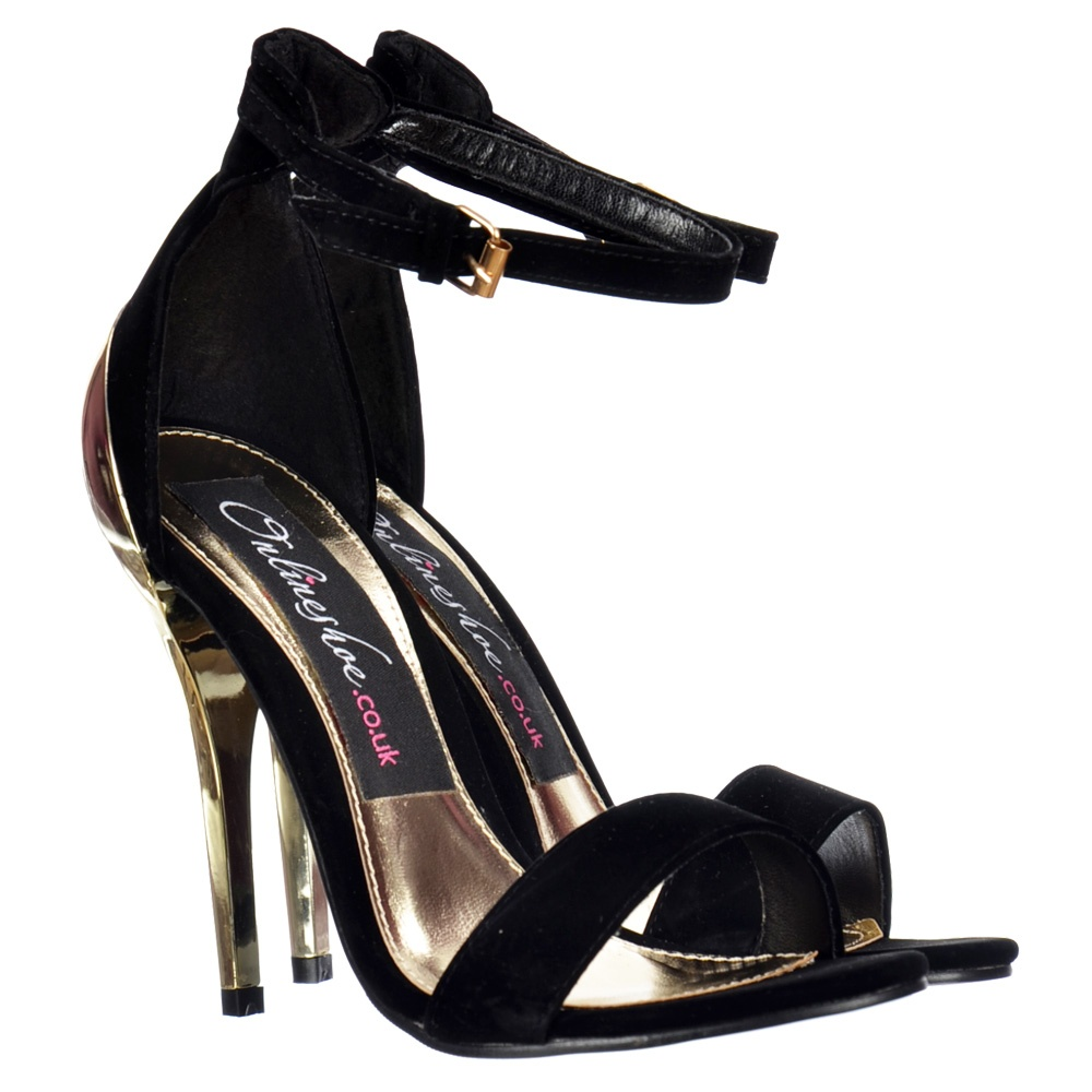 Black Strappy Sandals Mid Heel - Is Heel