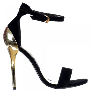 Shoekandi High Back Peep Toe Mid Heels - Gold Heel Strappy Sandals - Black Suede