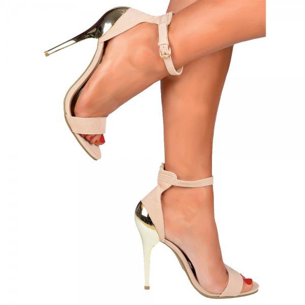 Shoekandi High Back Peep Toe Mid Heels - Gold Heel Strappy Sandals