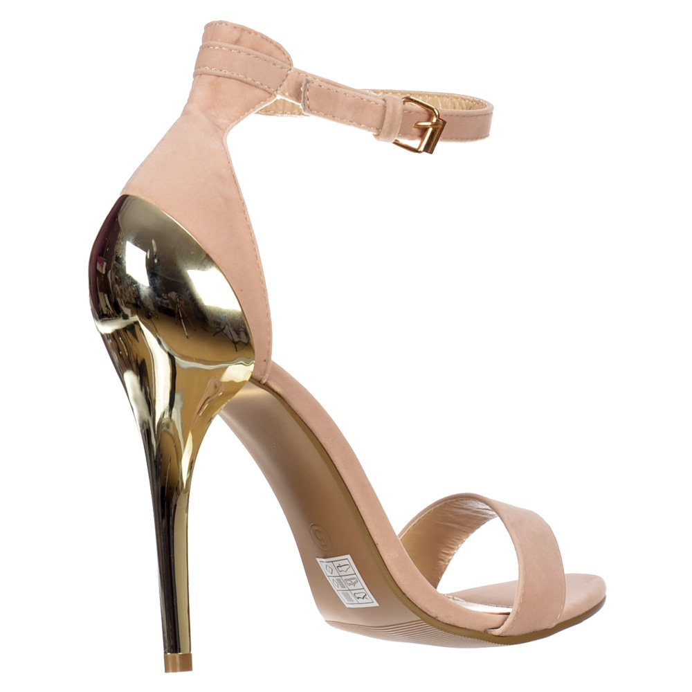 Lyst - Missguided Nude Faux Suede Simple Strap Platform