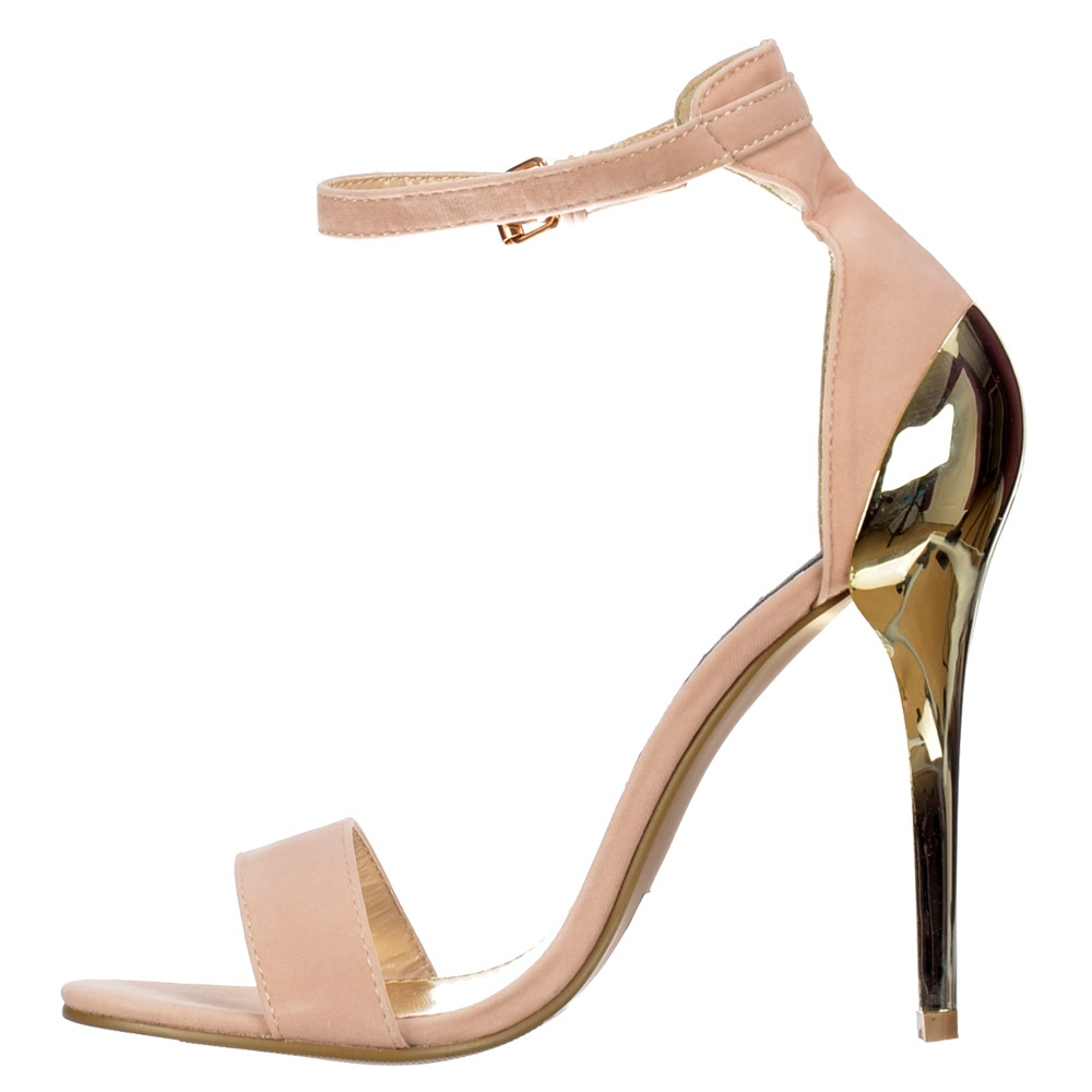 Shoekandi High Back Peep Toe Mid Heels - Gold Heel Strappy Sandals