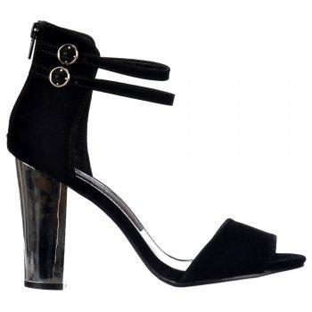 Shoekandi High Back Strappy Sandals - Peep Toe Block Heels - Black Suede