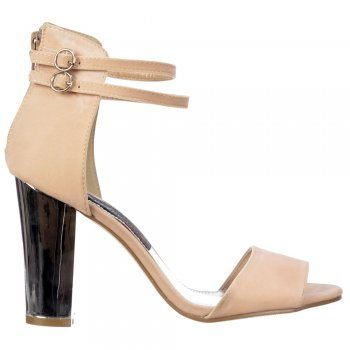 Shoekandi High Back Strappy Sandals - Peep Toe Block Heels - Cream Beige Suede
