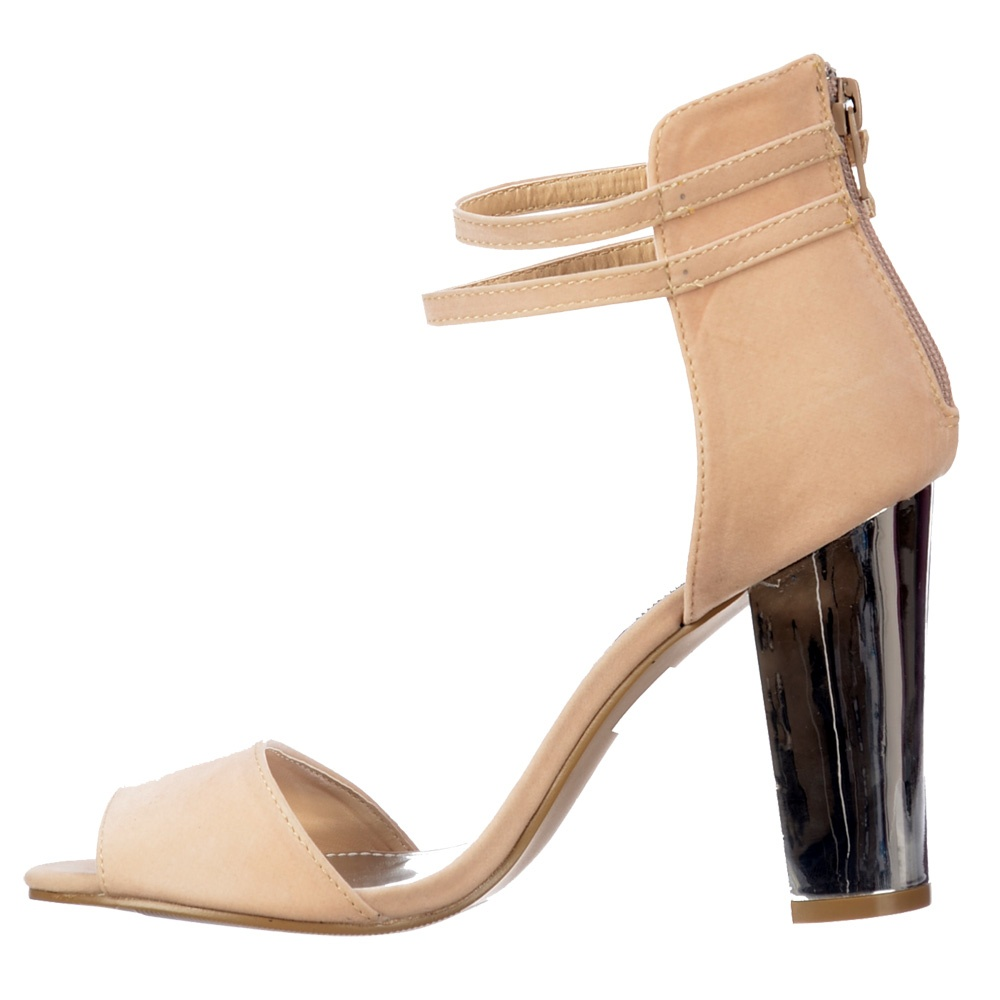 Cream Mid Heel Peep Toe Shoes