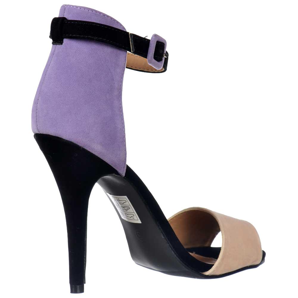Black sandals mid heel uk -  Shoekandi High Back Strappy Sandals Peep Toe Mid Heels Lilac Nude Black Suede