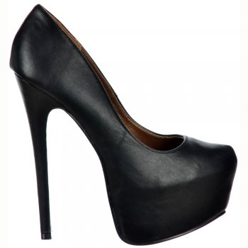 Shoekandi High Heel Concealed Platform Stiletto Shoes - Black PU