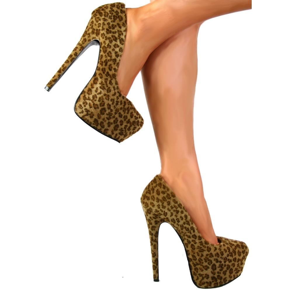 f8ea304cce4a Shoekandi high heel concealed platform stiletto shoes leopard image jpg  1000x1000 Leopard stilettos heels