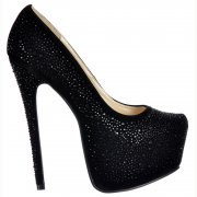 High Heel Diamante Crystal Stiletto Concealed Platform Shoes - Black Suede