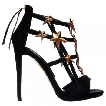 Shoekandi High Heel Gladiator Cut Out Stiletto - Embellished Gold Stars - Black Suede, Coral Suede