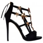 High Heel Gladiator Cut Out Stiletto - Embellished Gold Stars - Black Suede, Coral Suede