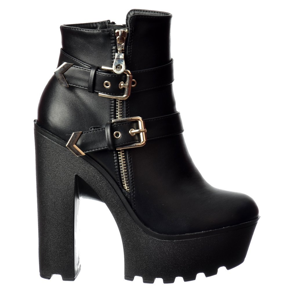 High Heel Platform Ankle Boots Gold Zip and Buckle Feature Cleated Sole Black PU
