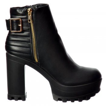 Shoekandi High Heel Platform Ankle Boots - Gold Zip and Buckle Feature Cleated Sole - Black PU