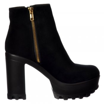 Shoekandi High Heel Platform Ankle Boots - Gold Zip Feature Cleated Sole - Black PU, Black Suede