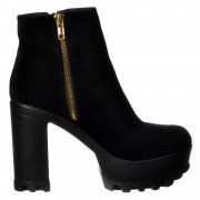 High Heel Platform Ankle Boots - Gold Zip Feature Cleated Sole - Black PU, Black Suede