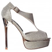 High Heel Sparkly Shimmer Peep Toe Party Shoe - Gold or Silver Heel - Silver, Gold