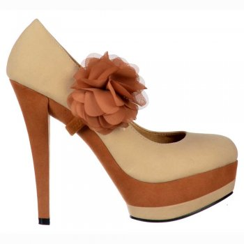 Shoekandi High Heel Two Tone Stiletto Platform - Detachable Flower - Nude Beige / Tan