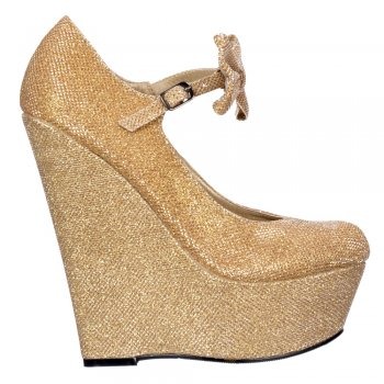 Shoekandi High Wedge Platform Mary Jane Bow Shoes - Dark Nude, Gold, Silver Purple Glitter