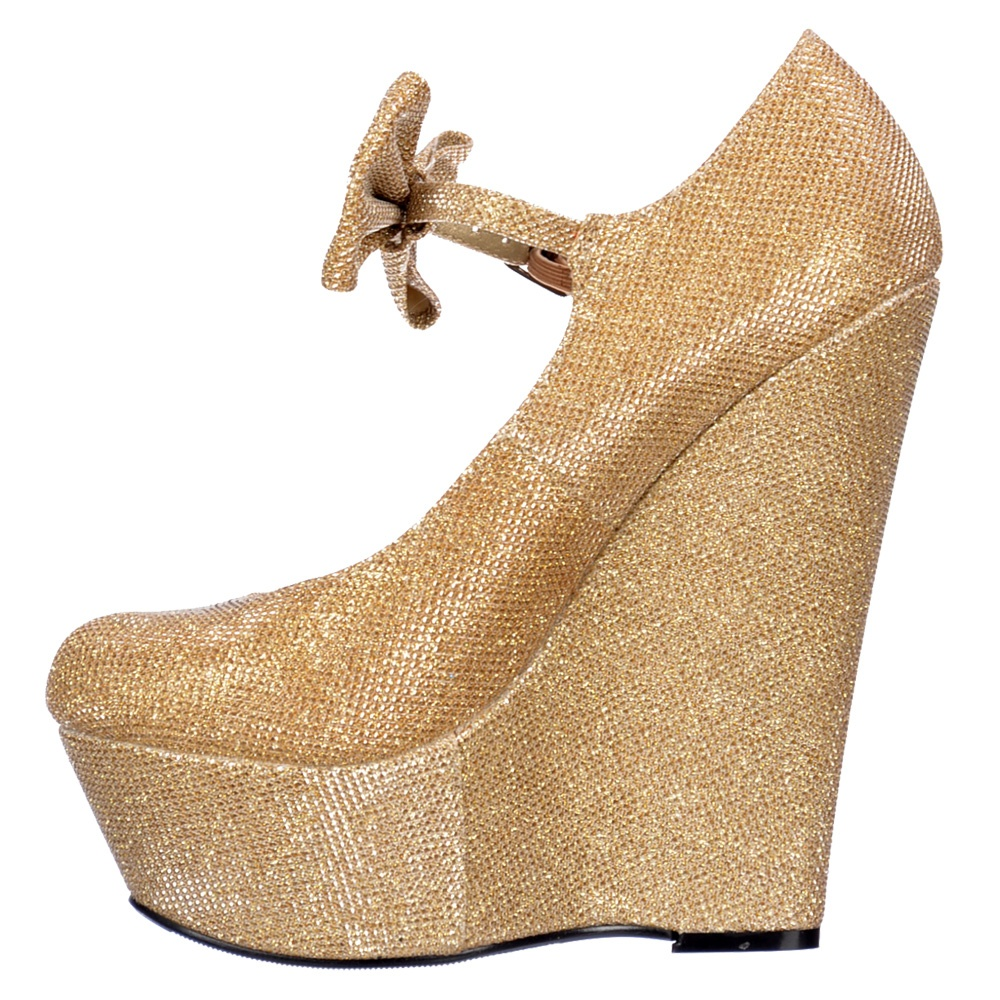 Glitter Wedge Shoes Gold Glitter Wedges With Bow