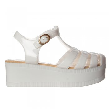 Shoekandi Jelly Gladiator Sandals - Chunky Platform Wedge - Black, White, Clear Glitter