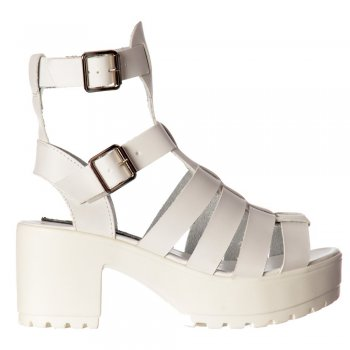 Shoekandi Kendal Cut Out High Back Gladiator Hologram Summer Sandals - Strappy Buckles - Black, White, Pink, Silver