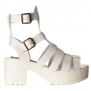 Kendal Cut Out High Back Gladiator Hologram Summer Sandals - Strappy Buckles - Black, White, Pink, Silver