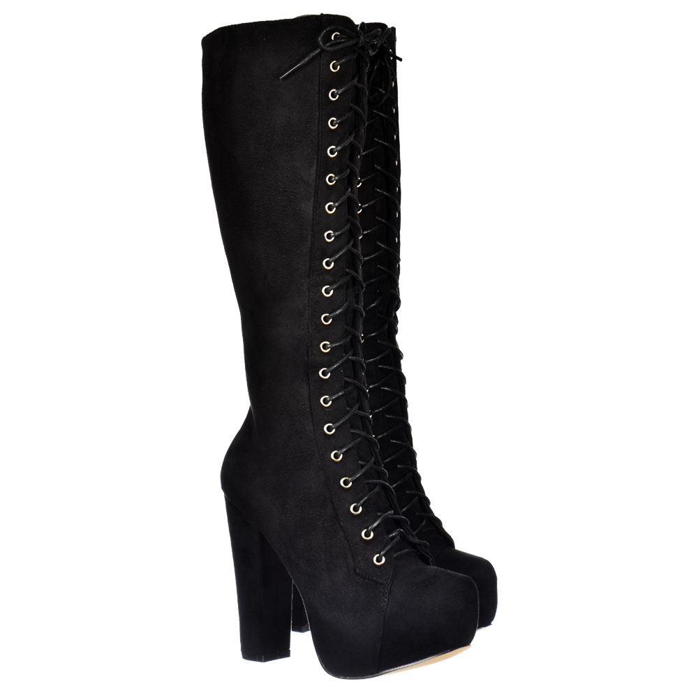 shoekandi knee high block heel platform boot