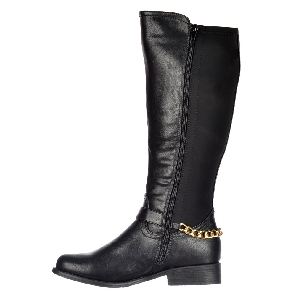 fb8e4f92e603 Shoekandi Knee High Extra Wide Calf Flat Riding Boot - Gold Buckle - Black  PU. ‹ View All Shoekandi  ‹ ...