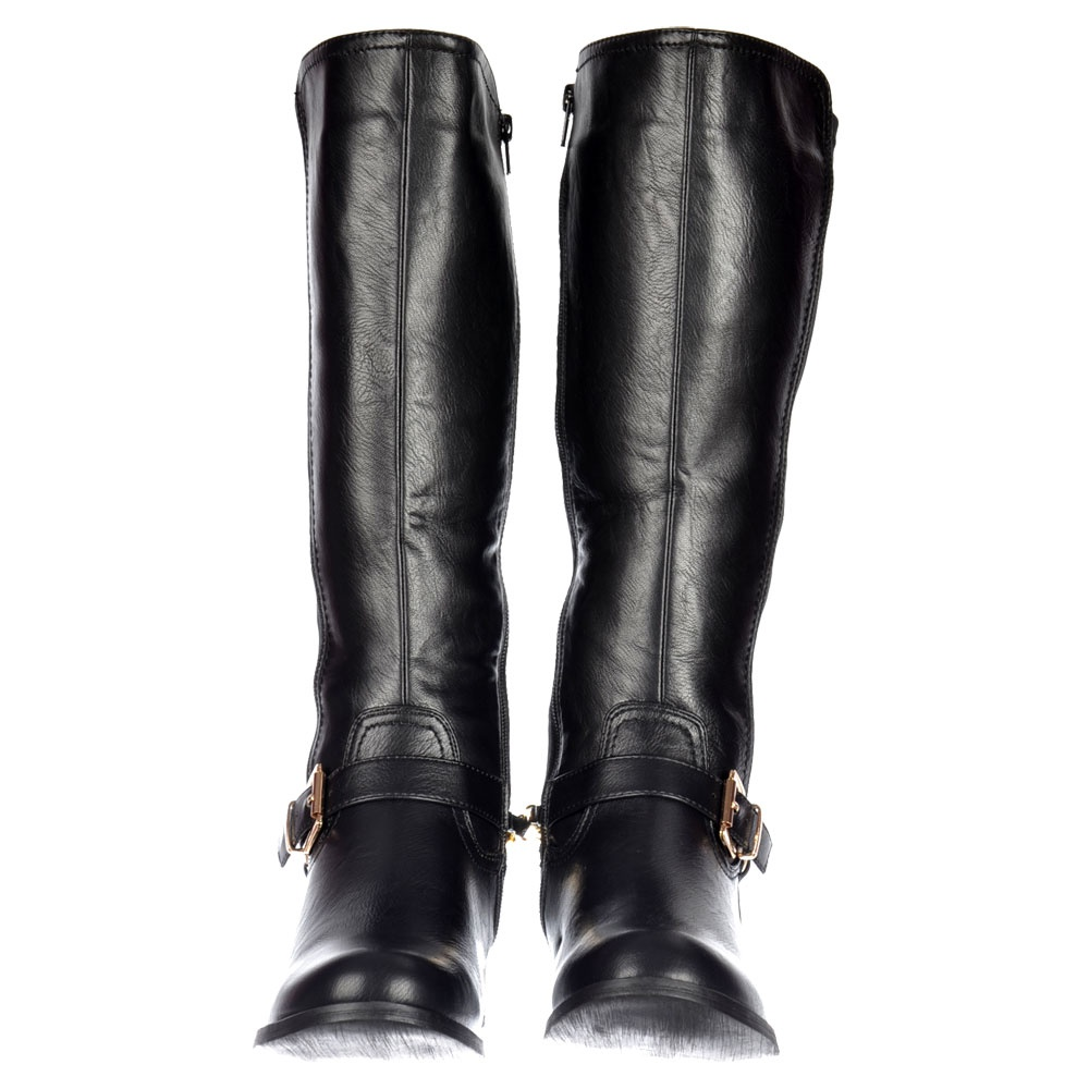 7ec5ed74437b Shoekandi Knee High Extra Wide Calf Flat Riding Boot - Gold Buckle - Black  PU - Shoekandi from ShoeKandi UK