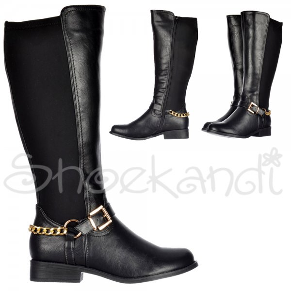 Shoekandi Knee High Extra Wide Calf Flat Riding Boot - Gold Buckle ...