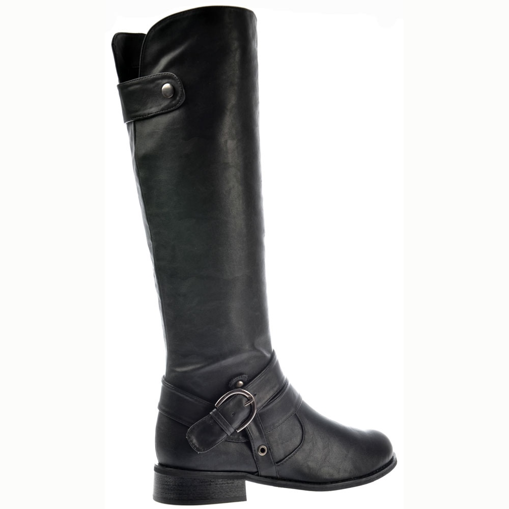 shoekandi knee high flat boots straps and buckles