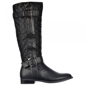 Shoekandi Knee High Quilted Riding Boots With Buckle and Straps Feature - Black, Tan Brown