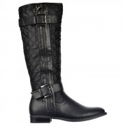 Knee High Quilted Riding Boots With Buckle and Straps Feature - Black, Tan Brown
