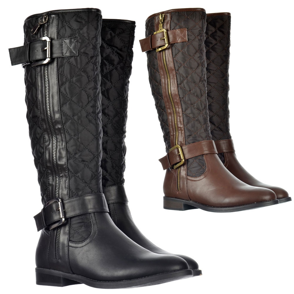 Shoekandi Knee High Quilted Riding Boots With Buckle and Straps ...