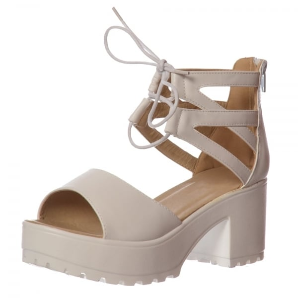 Shoekandi Lace Up Ankle Strap Cleated Sole Block Heel