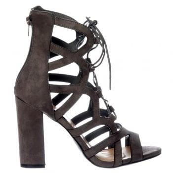 Shoekandi Lace Up Block Heel Peep Toe Sandal - Grey Suede, Black Suede, Sand Suede