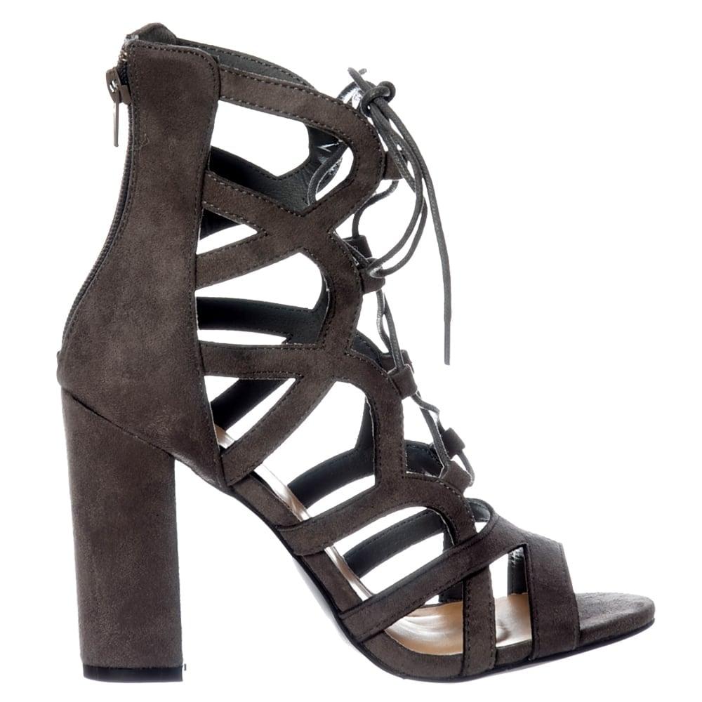 Shoekandi Lace Up Block Heel Peep Toe Sandal Grey Suede