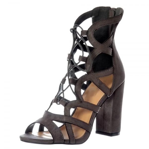 6feeb92d5402 Shoekandi Lace Up Block Heel Peep Toe Sandal - Grey Suede