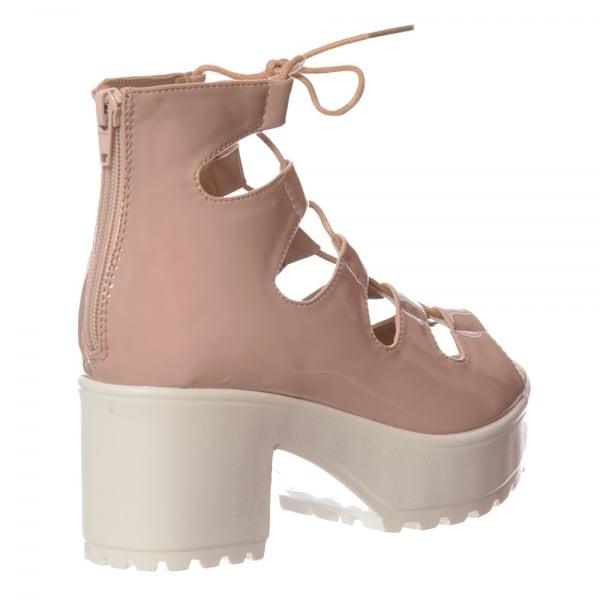 b99c57a2565d Shoekandi Lace Up Cleated Sole Block Heel Sandals - Black PU