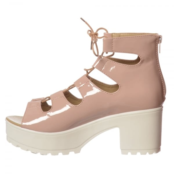 Shoekandi Ankle Wrap Cleated Sole Block Heel Sandals