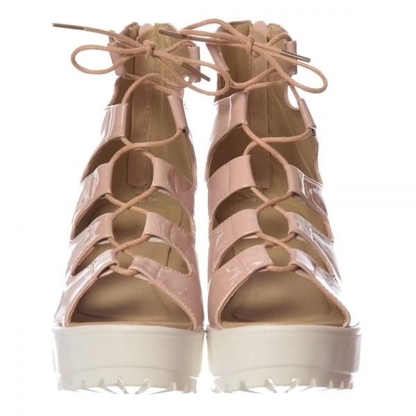 0795b7bf9de5 Shoekandi Lace Up Cleated Sole Block Heel Sandals - Black PU