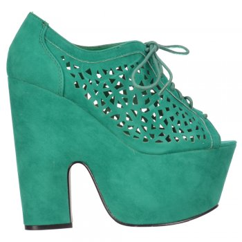 Shoekandi Lace Up Demi Wedge Vented Cut Out Sandal  - Jade Green Suede
