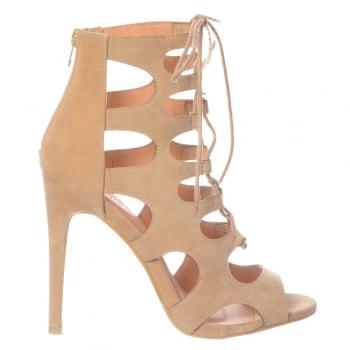 Shoekandi Lace Up High Heel Peep Toe Shoe - Stiletto Heel - Black Suede, Red Suede, Nude Suede