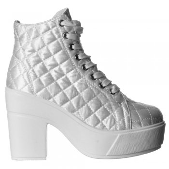 Shoekandi Lace Up Rihanna Platform High Wedge Ankle Boot Pumps - Black, White