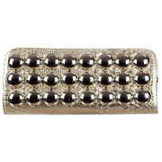 Ladies Shiney Metallic Evening Clutch Handbag Purse - Gold Metallic