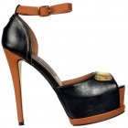 Leather Effect Two Tone Peep Toe Stiletto Heel - Gold Metal Badge Detail - Black